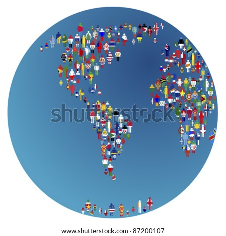 Globalizing, Earth globe with people made of flags of the world