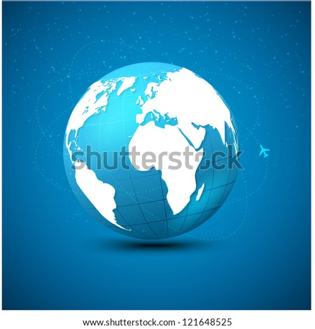 Globe airlines. Connections all over the world - stock vector