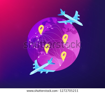 Globe and air cargo trucking and plane logistics network. Global transportation system, worldwide logistics, worldwide delivery service concept. Ultraviolet neon vector isometric 3D illustration.