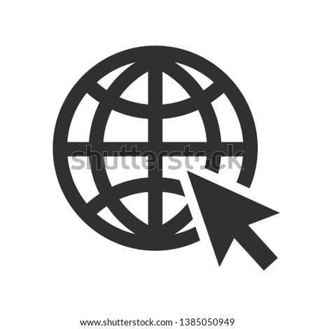 """Globe and arrow """"Go to web"""" - website icon. Globe icon and arrow that clicks on it. Black pictogram isolated on white background."""