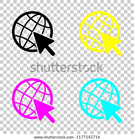 Globe and arrow icon. Colored set of cmyk icons on transparent background