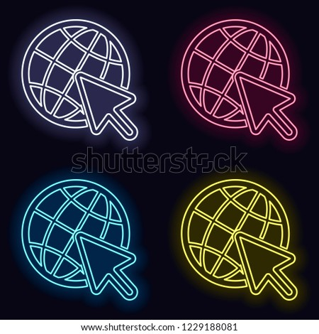 Globe and arrow icon. Set of neon sign. Casino style on dark background