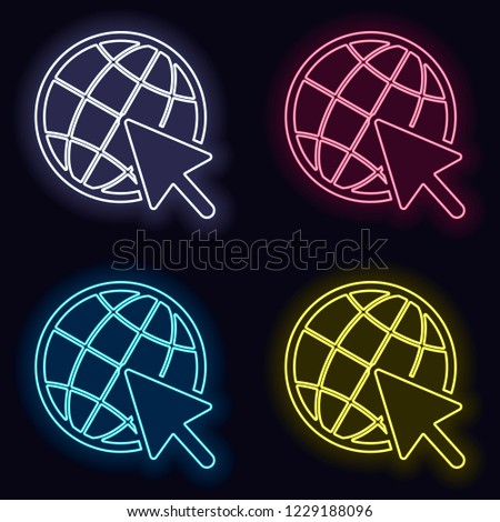 Globe and arrow icon. Set of neon sign. Casino style on dark background.