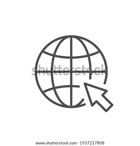 Globe and arrow line outline icon