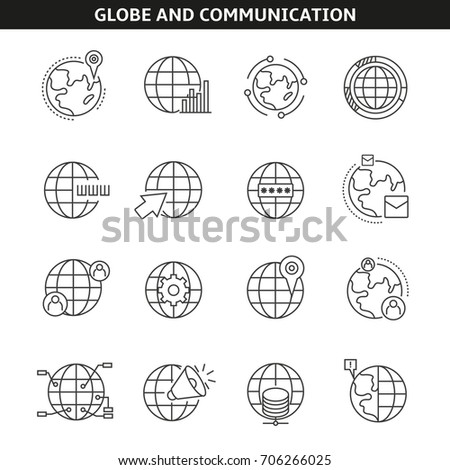 globe and communication icons in line style