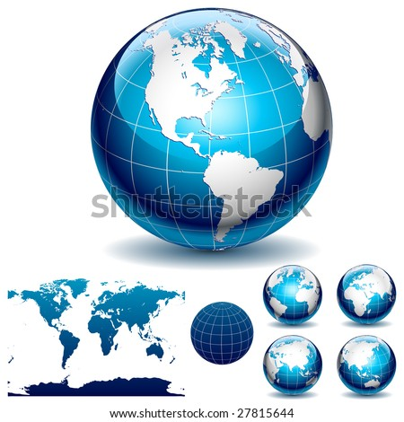 Globe and detail map of the world Different views Vector Illustration