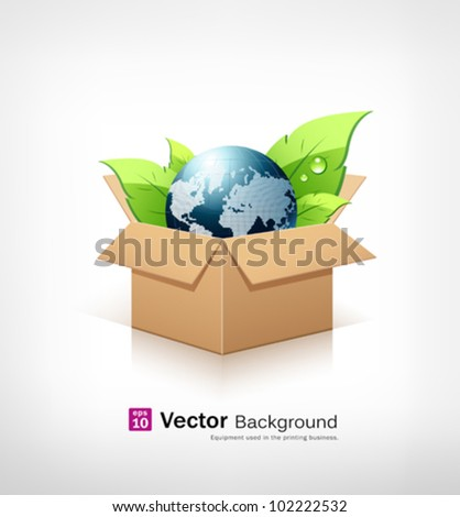 Globe and green leaf in recycle brown box. vector illustration