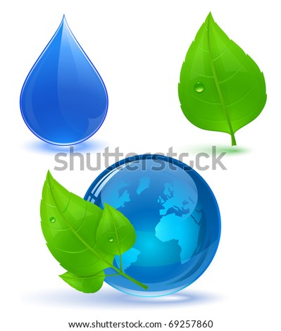 Globe and green leaves with drop of water. Blue water. Eco Concept.