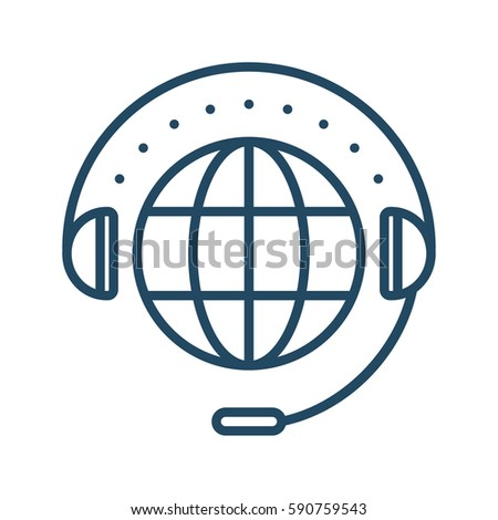 Globe and Headset vector icon in meaning Technical Support