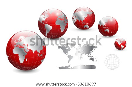 Globe and map of the world, detailed vector illustration