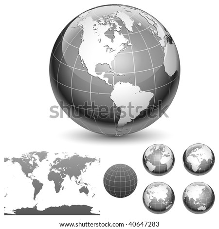 Globe and map of the world. Different views. Vector illustration. - stock vector