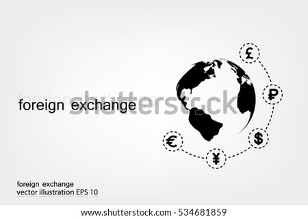 Globe and money icon vector EPS 10, abstract sign currency exchange flat design,  illustration modern isolated badge for website or app - stock info graphics.
