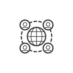 Globe and people network connection line icon. linear style sign for mobile concept and web design. Global communication outline vector icon. Symbol, logo illustration. Vector graphics
