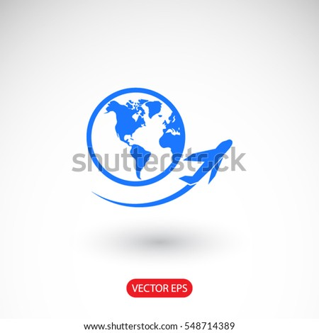 Globe and plane travel icon. One of set web icons