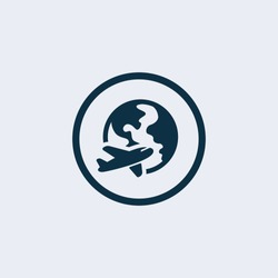 Globe and plane travel icon.Travel icon.Airplane icon
