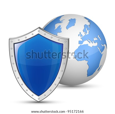 Globe and shield. Safety and security concept