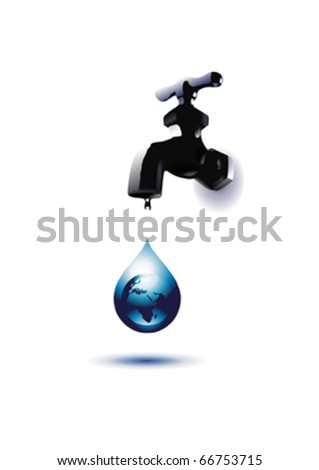 Globe and Water Tap - stock vector