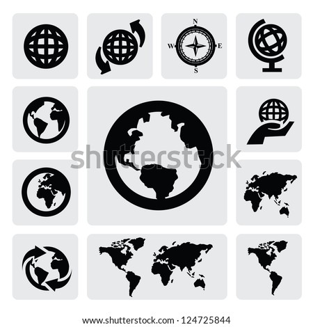 Globe and world map icons on gray