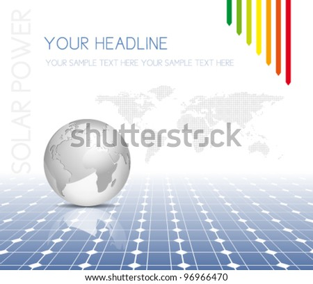 Globe and world map with photovoltaic solar panel - electricity background