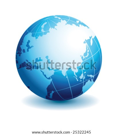Globe asian view with reflection vector