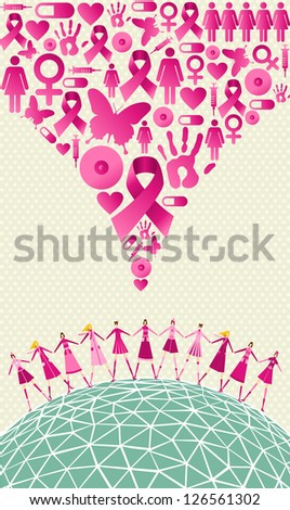 Globe Breast cancer awareness with women teamwork and icon splash background. Vector file layered for easy manipulation and custom coloring.