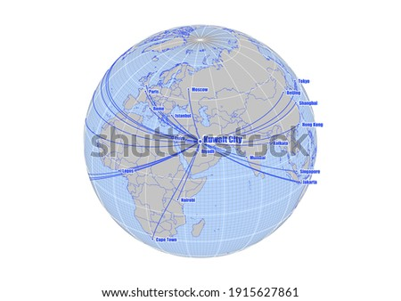 Globe centered to Kuwait City, Kuwait. Vector map showing Kuwait City, Kuwait's position on the world map, and its connections with other major cities. Map suitable for digital editing and printing.