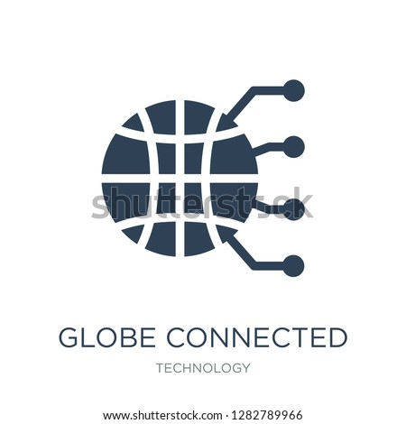 globe connected circuit icon vector on white background, globe connected circuit trendy filled icons from Technology collection, globe connected circuit vector illustration