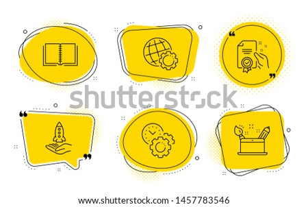 Globe, Crowdfunding and Creativity concept signs. Chat bubbles. Book, Certificate and Time management line icons set. E-learning course, Certified guarantee, Settings. Internet settings. Vector