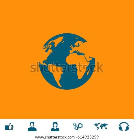 globe earth blue symbol icon