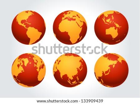Globe earth icon set vector design elements