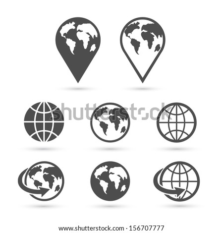 Globe earth icons set isolated on white. Vector illustration.