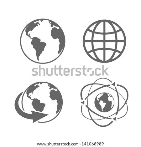 Globe earth icons set on white background