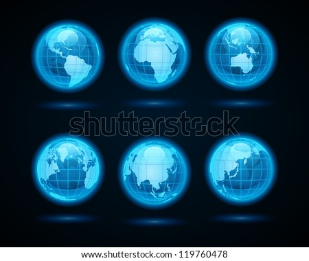 Globe earth night light icons set design elements. Vector illustration Eps 10.