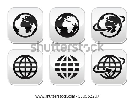 Globe earth vector buttons set