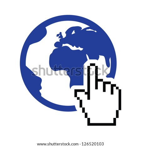 Globe, earth with cursor hand vector icon