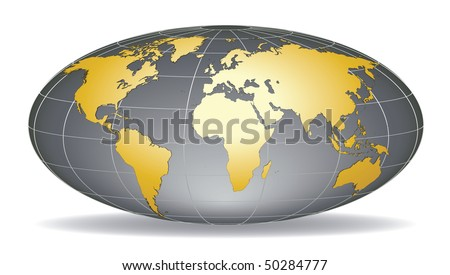 globe earth with detailed golden world map placed in five layers