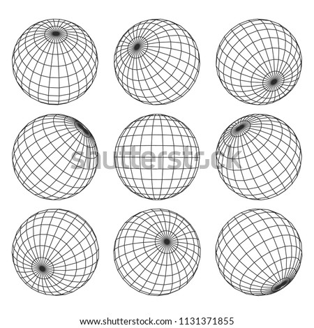 Globe grid. 3d sphere wires, earth network vector isolated set. Line sphere network, wire global grid, latitude structure illustration