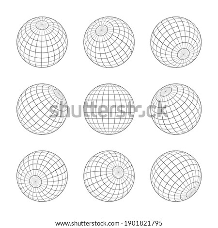 Globe grid. 3d sphere wires, earth network vector isolated set. Line sphere network, wire global grid, latitude structure illustration.