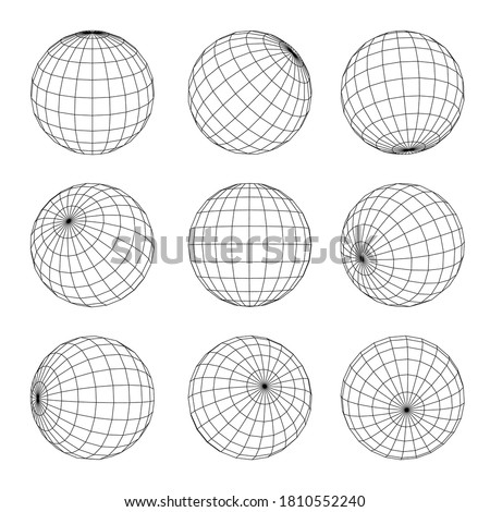 Globe Grid set. Planet Earth orb wireframe in nine position. Geographical longitude, latitude, equator, cartography. Sphere rotation. Vector globe grid illustration isolated on white background.