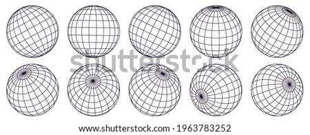 Globe grid spheres. Striped 3D spheres, geometry globe grid, earth latitude and longitude line grid vector symbol set. Spherical grid globe shapes. Illustration globe striped, global geography surface