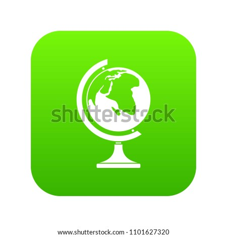 Globe icon digital green for any design isolated on white vector illustration