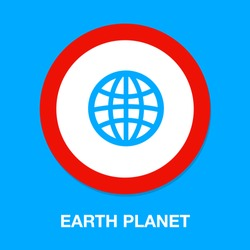 Globe icon, earth planet - global world, global sign - map isolated