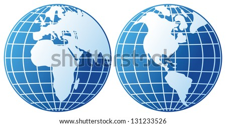 globe icon (globes showing earth with all continents, world globe)