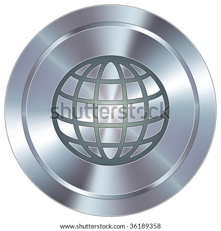 Globe icon on round stainless steel modern industrial button