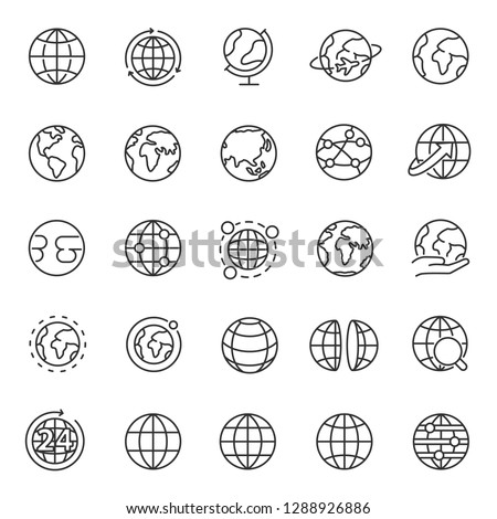 Globe, icon set. Planet Earth, world map in different variations, linear icons. Line with editable stroke