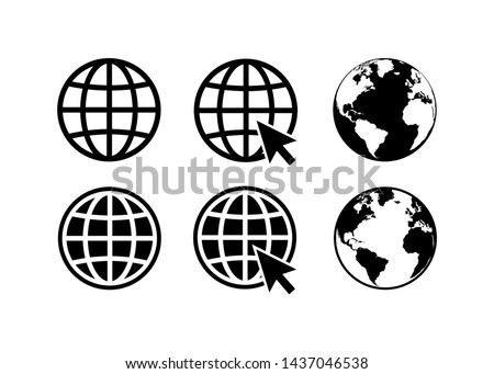 globe icon symbol set, go to web icon vector. website, homepage icon set
