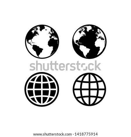 globe icon symbol set, Web icon set vector. website, homepage icon set