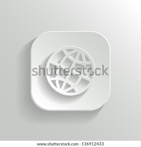 Globe icon - vector white app button with shadow