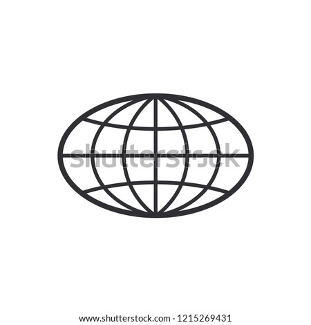 Globe Icon. World symbol. Oval globe. Icon world. Globe symbol. Earth sign. Logo template. Color easy to edit. Transparent background.