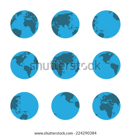 globe icons set   isolated on